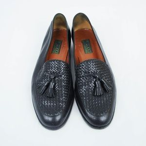 Vintage Gucci Loafers Leather Tassels Woven